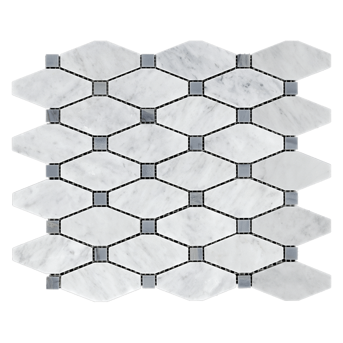 Bianco Gioia Marble Mosaic Tile Diamond w Grey - Polished Polished / Diamond - DW TILE & STONE - Atlanta Marble Natural Stone Wholesale Stone Supplier