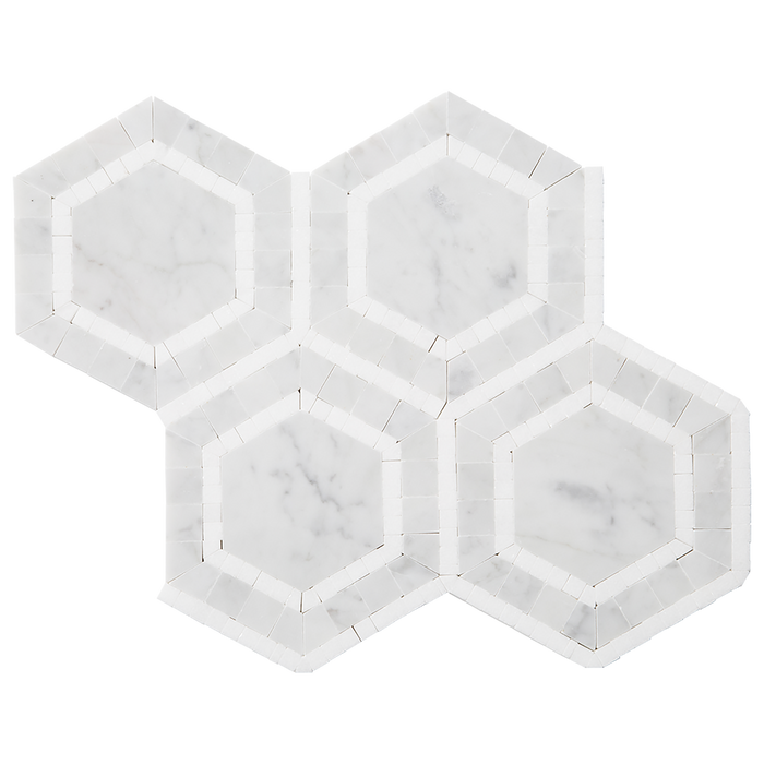 Bianco Gioia Marble Mosaic Tile Ovation Hexagon w Thassos - Polished Polished / Hexagon - DW TILE & STONE - Atlanta Marble Natural Stone Wholesale Stone Supplier