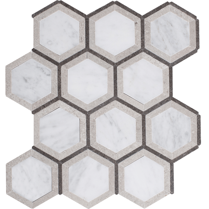 Bianco Gioia Marble Mosaic Tile Spire Hexagon - Polished Polished / Hexagon - DW TILE & STONE - Atlanta Marble Natural Stone Wholesale Stone Supplier