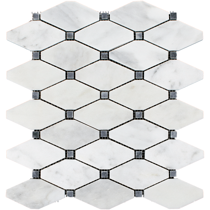 DIAMOND Bianco Perla Marble w/Grey Mosaic Tile - Polished Polished / Diamond - DW TILE & STONE - Atlanta Marble Natural Stone Wholesale Stone Supplier