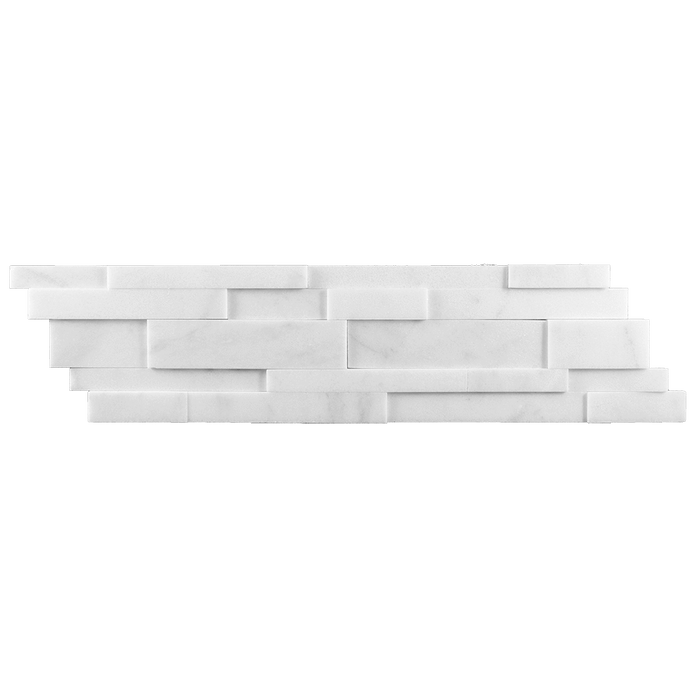 Bianco Perla Marble Up & Down Ledger Mosaic - Honed Honed / Up Down - DW TILE & STONE - Atlanta Marble Natural Stone Wholesale Stone Supplier