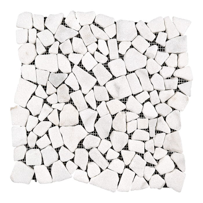 PEBBLE Bianco Perla Marble Mosaic - Tumbled  - DW TILE & STONE - Atlanta Marble Natural Stone Wholesale Stone Supplier