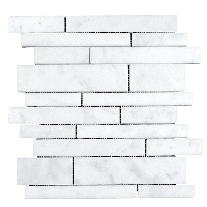 Bianco Perla Marble Random Strips Mosaic - Polished  - DW TILE & STONE - Atlanta Marble Natural Stone Wholesale Stone Supplier