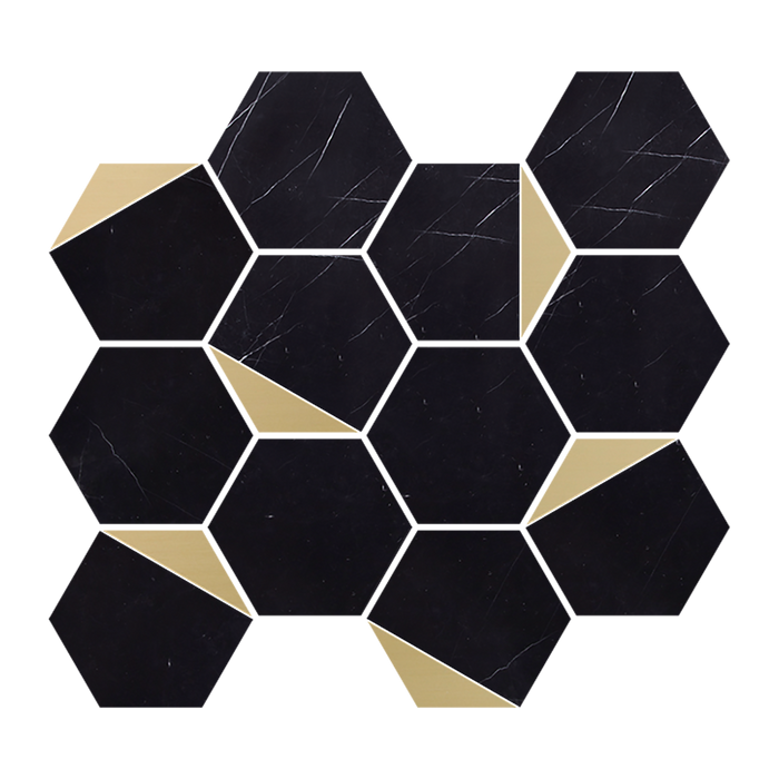 "RETRO - Nero Marquina Marble 3"" Hexagon w/Brass - Polished  - DW TILE & STONE - Atlanta Marble Natural Stone Wholesale Stone Supplier"