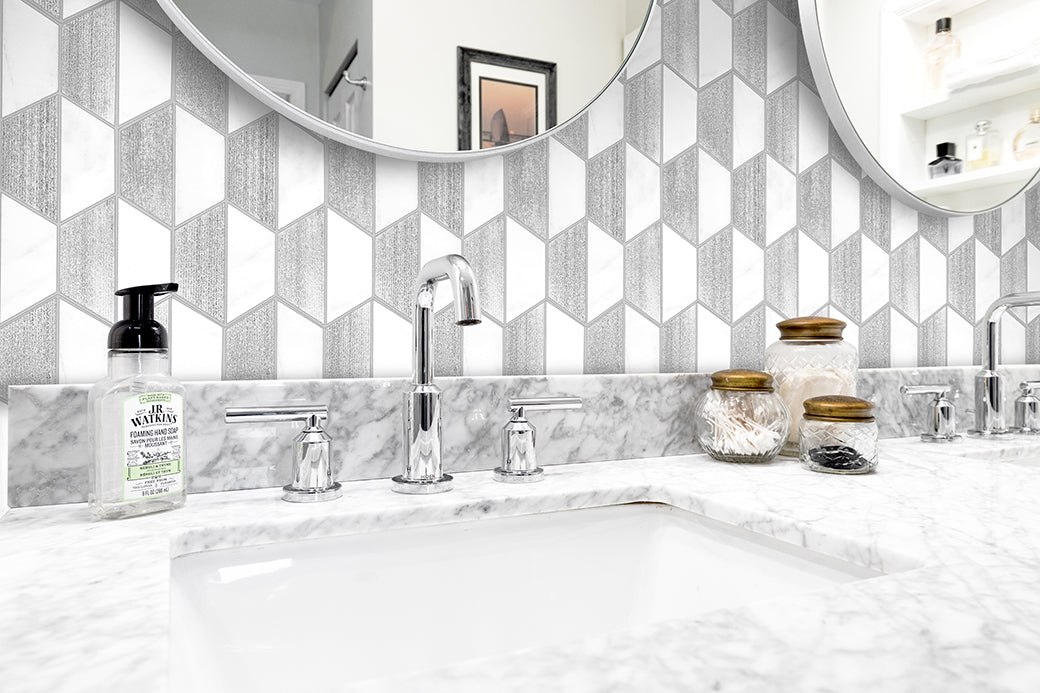"CHATEAU PERLA - 4"" Hexagon Marble Mosaic - Honed Engraved Silver Leaf  - DW TILE & STONE - Atlanta Marble Natural Stone Wholesale Stone Supplier"