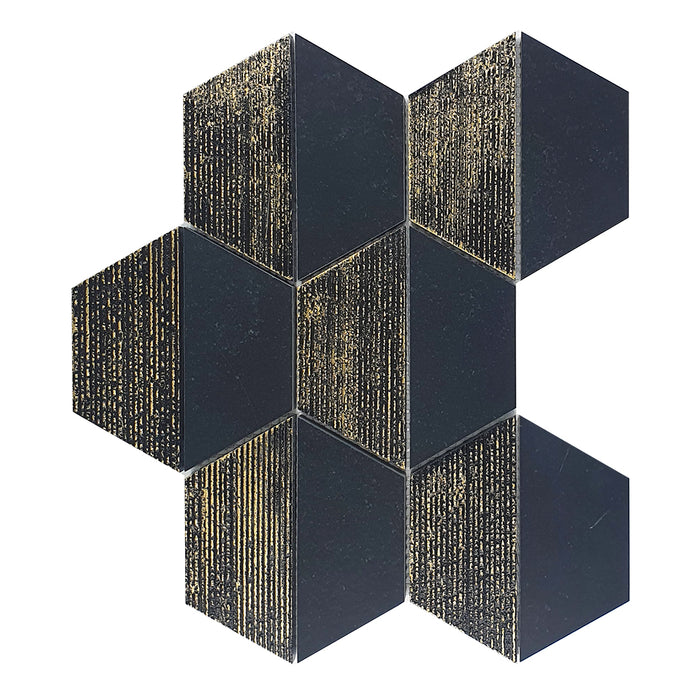 "CHATEAU BLACK - 4"" Hexagon Marble Mosaic - Honed Engraved Gold Leaf  - DW TILE & STONE - Atlanta Marble Natural Stone Wholesale Stone Supplier"