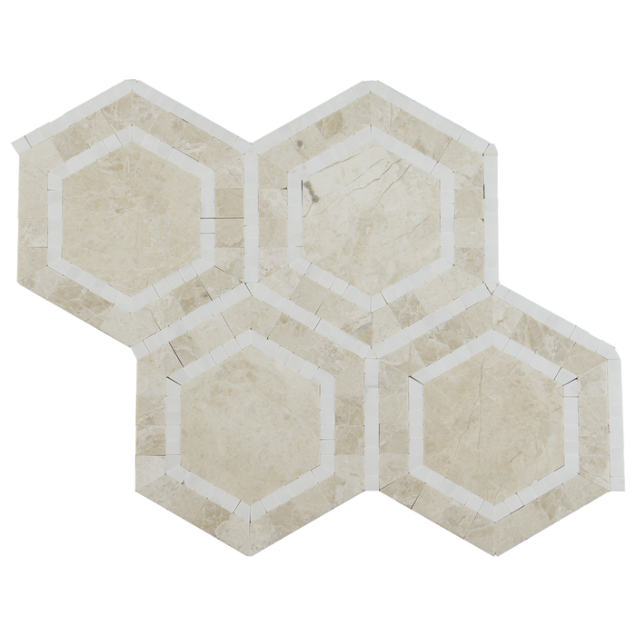 OVATION Crema Nova Marble Hexagon Mosaic w/Thassos- Polished  - DW TILE & STONE - Atlanta Marble Natural Stone Wholesale Stone Supplier