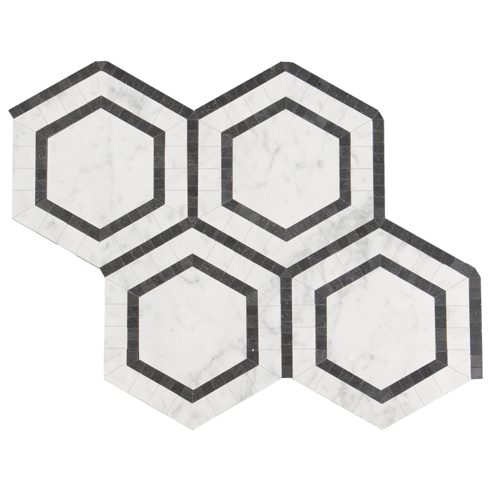 Bianco Gioia Marble Mosaic Tile Ovation Hexagon wBlack Marble - Polished  - DW TILE & STONE - Atlanta Marble Natural Stone Wholesale Stone Supplier