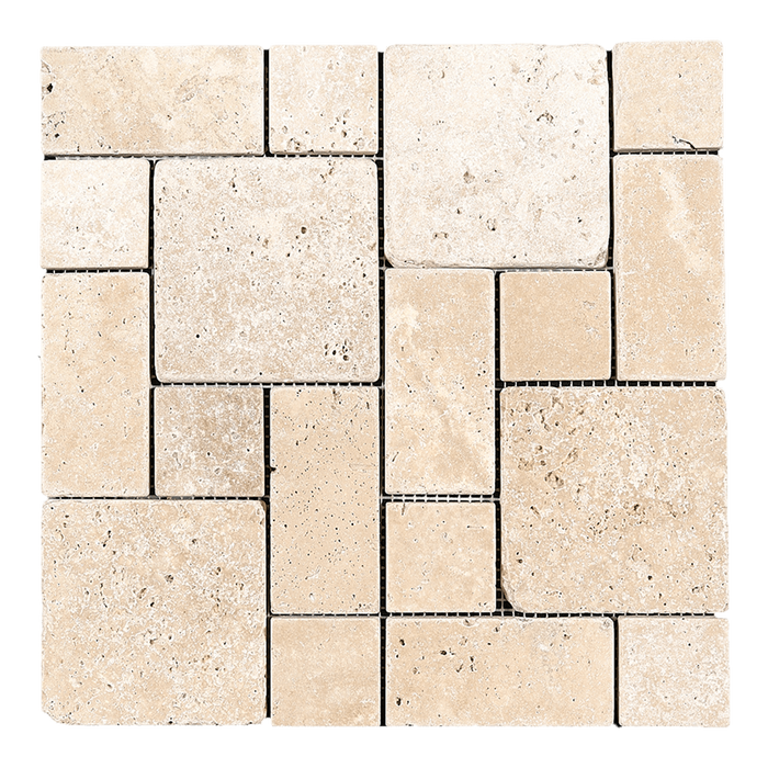 Ivory Travertine Mosaic Tile Mini Roman Pattern - Tumbled Tumbled / Roman - DW TILE & STONE - Atlanta Marble Natural Stone Wholesale Stone Supplier
