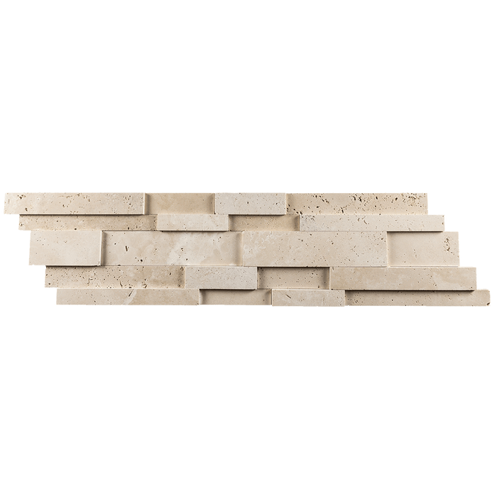 Ivory Travertine Mosaic Tile Strips Up and Down Mosaic - Honed Honed / Up Down - DW TILE & STONE - Atlanta Marble Natural Stone Wholesale Stone Supplier