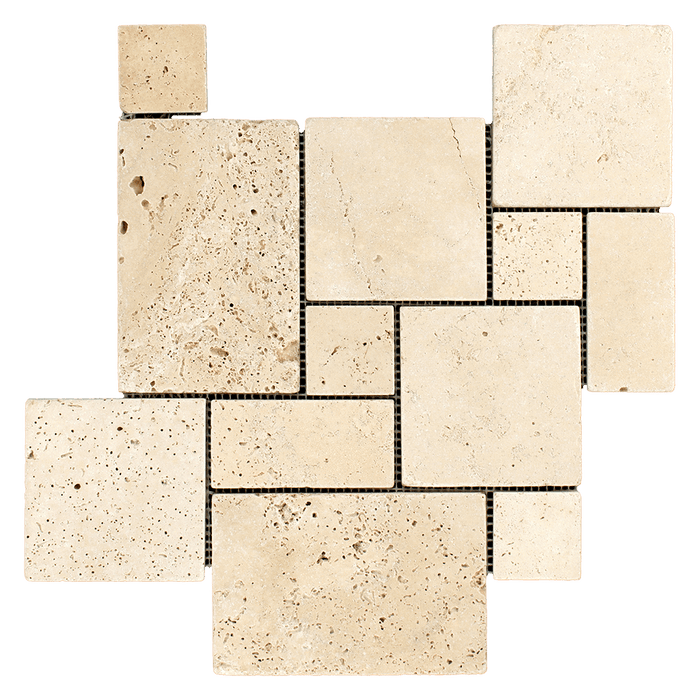 Ivory Travertine Mosaic Tile Mini Versaille Pattern - Tumbled Tumbled / Versaille - DW TILE & STONE - Atlanta Marble Natural Stone Wholesale Stone Supplier