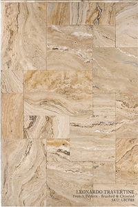 "Leonardo Travertine Floor and Wall Tiles Brushed - Chiseled / 16"" x 16"" - DW TILE & STONE - Atlanta Marble Natural Stone Wholesale Stone Supplier"