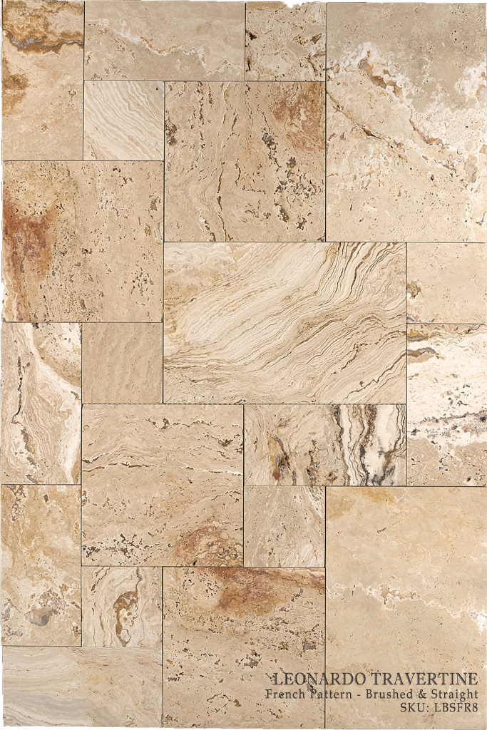 "Leonardo Travertine Floor and Wall Tiles Brushed - Straight / 16"" x 16"" - DW TILE & STONE - Atlanta Marble Natural Stone Wholesale Stone Supplier"