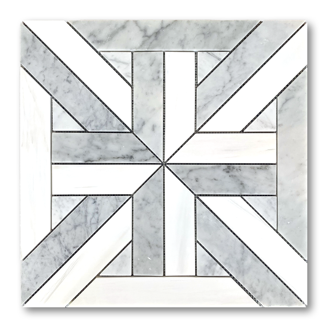 "18""x18"" PARQUET Dolomite Marble and Bianco Gioia Marble Mosaic - Polished  - DW TILE & STONE - Atlanta Marble Natural Stone Wholesale Stone Supplier"