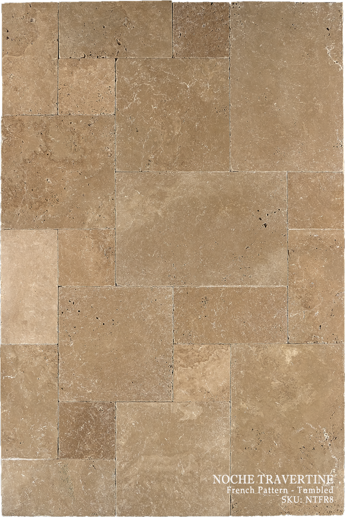 Noche Travertine Floor and Wall Tiles Tumbled / French - DW TILE & STONE - Atlanta Marble Natural Stone Wholesale Stone Supplier