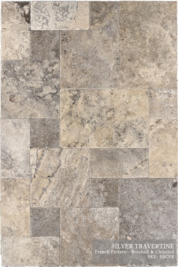 "Silver Travertine Floor and Wall Tiles Brushed - Straight / 8"" x 16"" - DW TILE & STONE - Atlanta Marble Natural Stone Wholesale Stone Supplier"