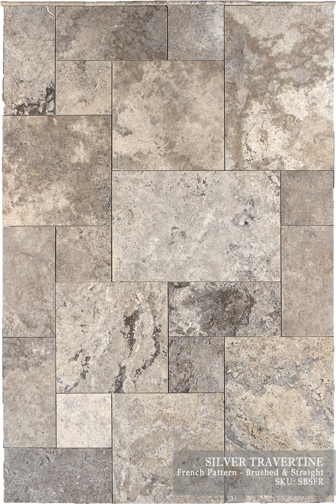 "Silver Travertine Floor and Wall Tiles Brushed - Chiseled / 16"" x 16"" - DW TILE & STONE - Atlanta Marble Natural Stone Wholesale Stone Supplier"