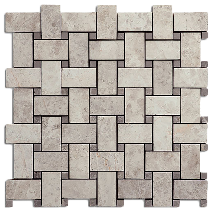 "1x2 Silver Shadow Marble Basketweave w/Grey Mosaic Tile - Honed Honed / 1"" x 2"" - DW TILE & STONE - Atlanta Marble Natural Stone Wholesale Stone Supplier"