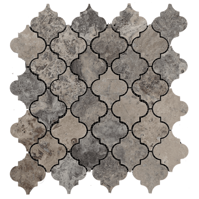 Silver Travertine Mosaic Tile Arabesque - Honed Honed / Arabesque - DW TILE & STONE - Atlanta Marble Natural Stone Wholesale Stone Supplier