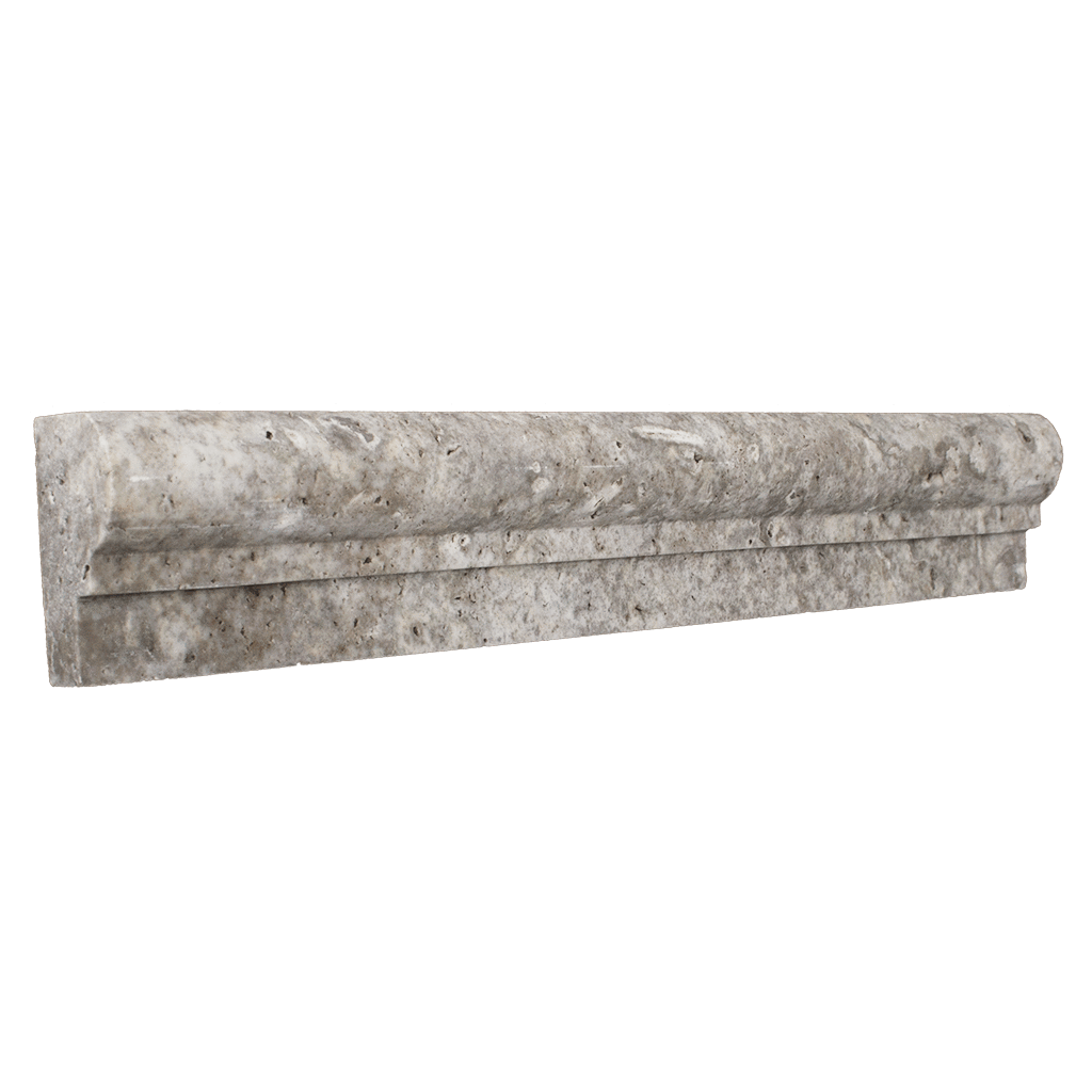 "Silver Travertine Cornice - Honed (1-7/8"" x 12"" x 1"") Honed / 1 7/8"" x 12"" x 1"" - DW TILE & STONE - Atlanta Marble Natural Stone Wholesale Stone Supplier"