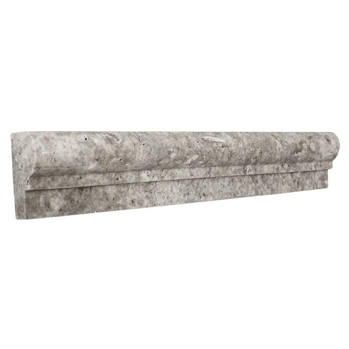 "Silver Travertine Cornice Tumbled / 1 7/8"" x 12"" x 1"" - DW TILE & STONE - Atlanta Marble Natural Stone Wholesale Stone Supplier"