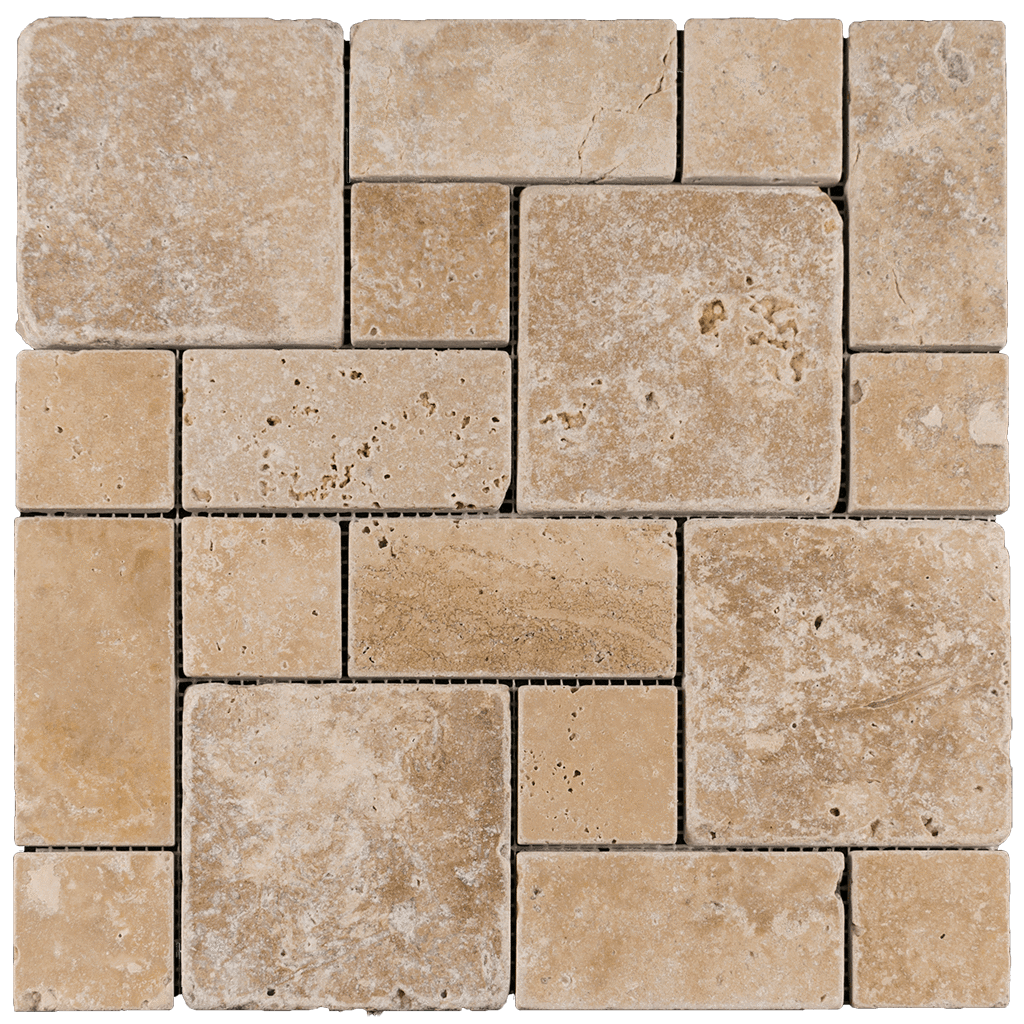 Walnut Travertine Mosaic Tile Mini Roman Pattern - Tumbled Tumbled / Roman - DW TILE & STONE - Atlanta Marble Natural Stone Wholesale Stone Supplier