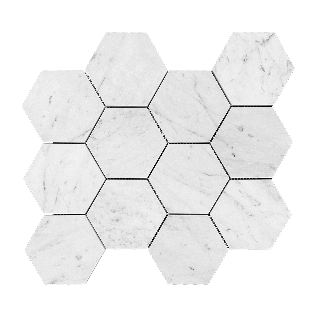 "4"" HEXAGON Bianco Gioia Marble Mosaic - Honed  - DW TILE & STONE - Atlanta Marble Natural Stone Wholesale Stone Supplier"