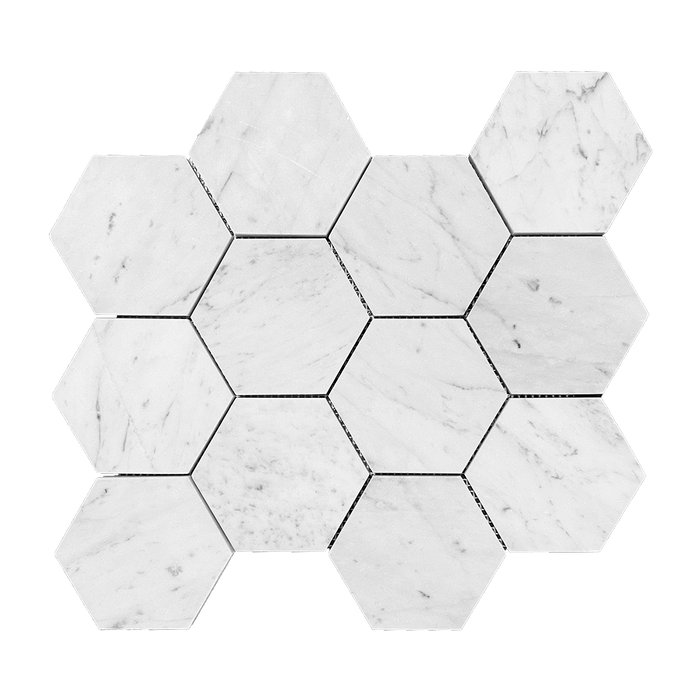 "4"" Bianco Gioia Marble Mosaic Hexagon - Honed  - DW TILE & STONE - Atlanta Marble Natural Stone Wholesale Stone Supplier"