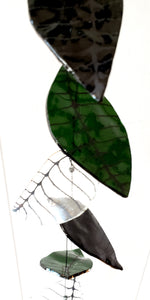 Green, black and clear leaves, 50""