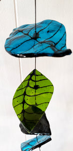 Green, black and blue leaves, 37""