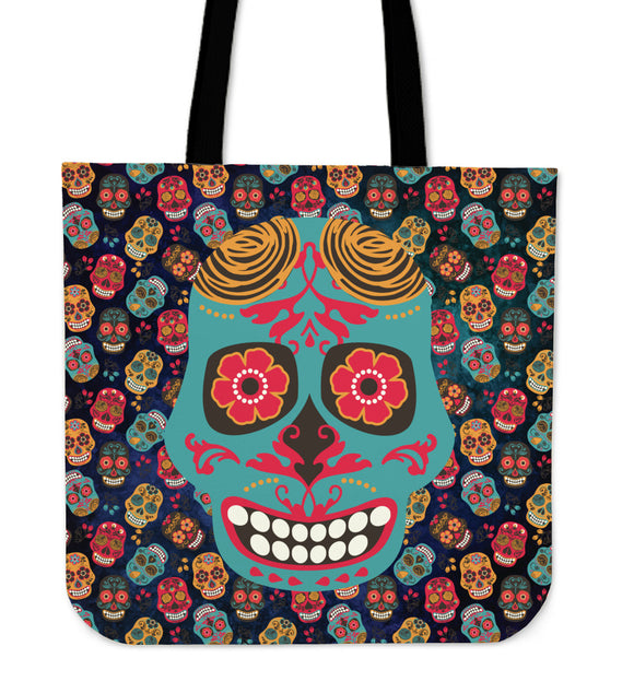 Mex Calavera Sugar Skull Tote Bag Series - Trendy Staples