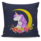 Dark Blue Starry Night Crescent Moon Unicorn Pillow Cover - Trendy Staples