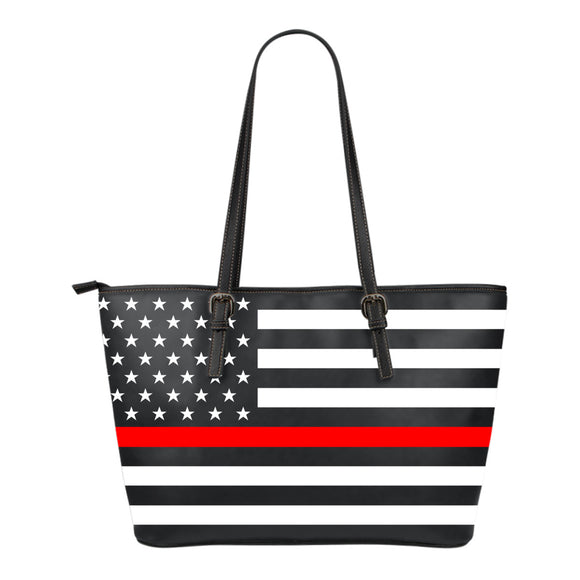 The Thin Red Line Firefighter Small Leather Tote - Trendy Staples