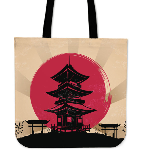 Japanese Toba Pagoda Shrine Tote Bag (2 Variants) - Trendy Staples