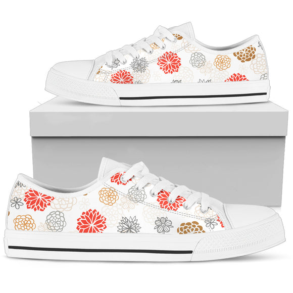 Japanese Hand-Drawn Floral Low Top Women's Shoes (3 Variants) - Trendy Staples
