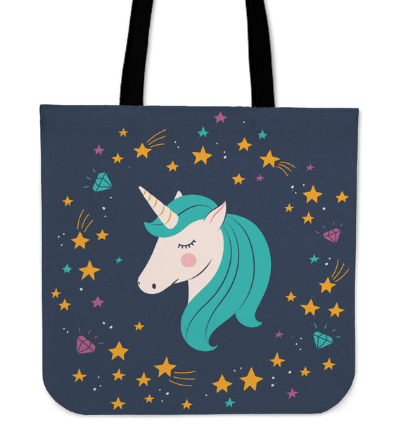 Midnight Blue Starry Night Unicorn Tote Bag - Trendy Staples