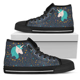 Midnight Blue Starry Night Crescent Moon Unicorn High Top Black Canvas Shoe (Customisable) - Trendy Staples