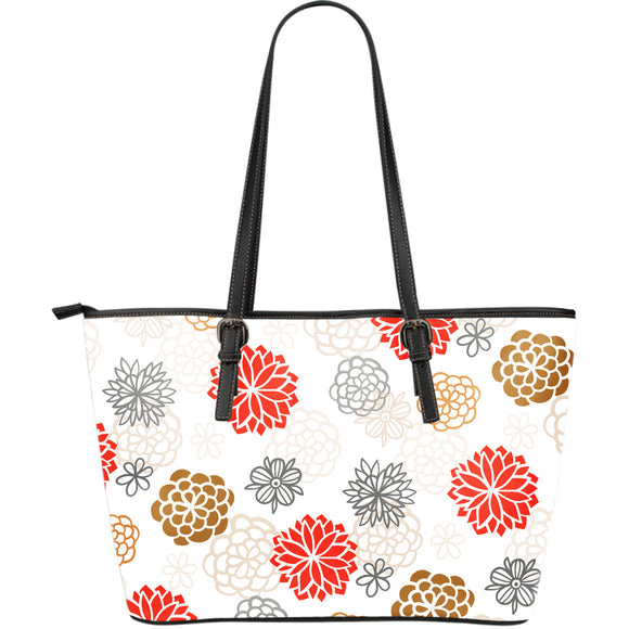 Japanese Hand-Drawn Floral Pattern Leather Tote Bag (3 Variants) - Trendy Staples