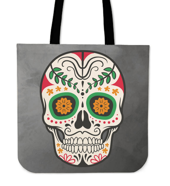 Craneo Calavera Skull Orange Bloom Tote Bag - Trendy Staples