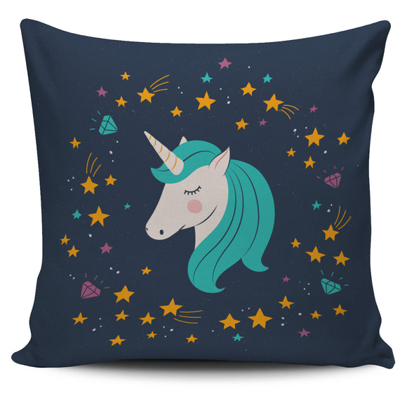 Midnight Blue Starry Night Unicorn Pillow Cover - Trendy Staples