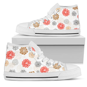 Japanese Hand-Drawn Floral High Top Women's Shoes (3 Variants) - Trendy Staples