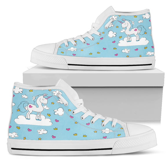 Blue Sky Unicorn High Top Shoes - Trendy Staples