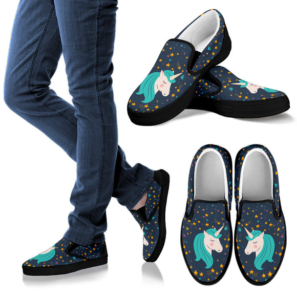 Midnight Blue Starry Night Unicorn Slip On Shoes - Trendy Staples