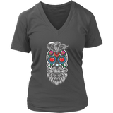 Calavera Hipster Sugar Skull Women's V-Neck Tee Shirt - Trendy Staples