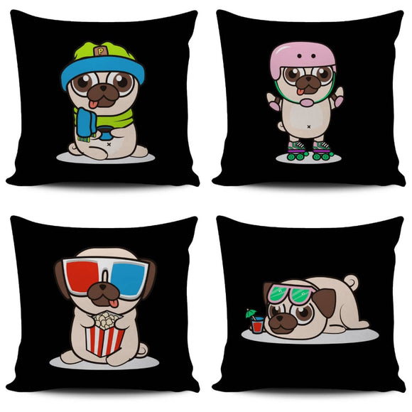 Animated Fun Pug Pillow Covers - Trendy Staples