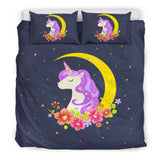 Dark Blue Starry Night Crescent Moon Unicorn Bedding (3 Sizes) - Trendy Staples