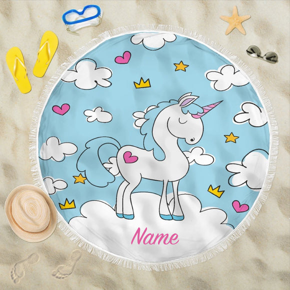 Blue Sky Unicorn Beach Blanket (Customisable) - Trendy Staples