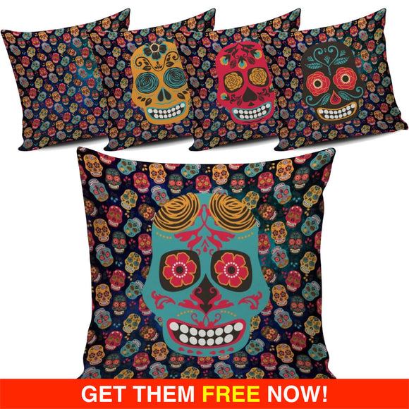 Mex Calavera Sugar Skull Pillow Cover Series (FLASH OFFER) - Trendy Staples