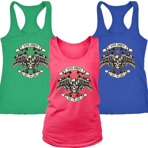 Biker Speed Junkie Fast N Loud Smoking Cigar Women's Racerback / Tank Top (7 Colors) - Trendy Staples