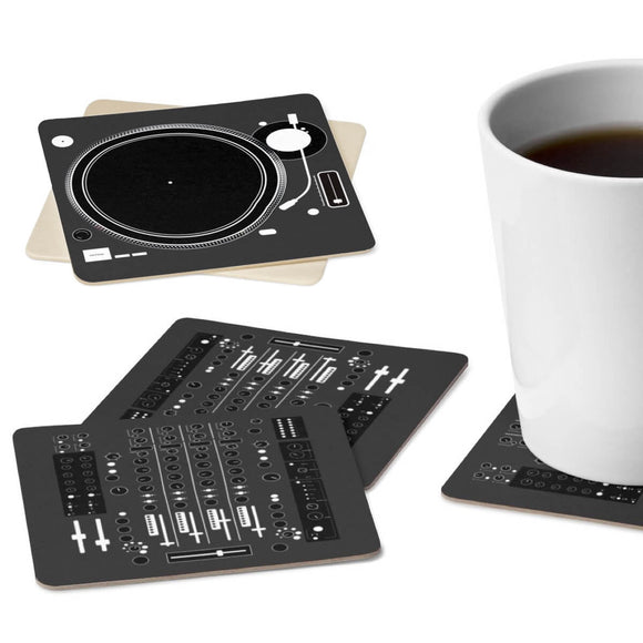 DJ Deejay Disc Jockey Mixer & Turntable Square Paper Coaster Set - 6pcs - Trendy Staples